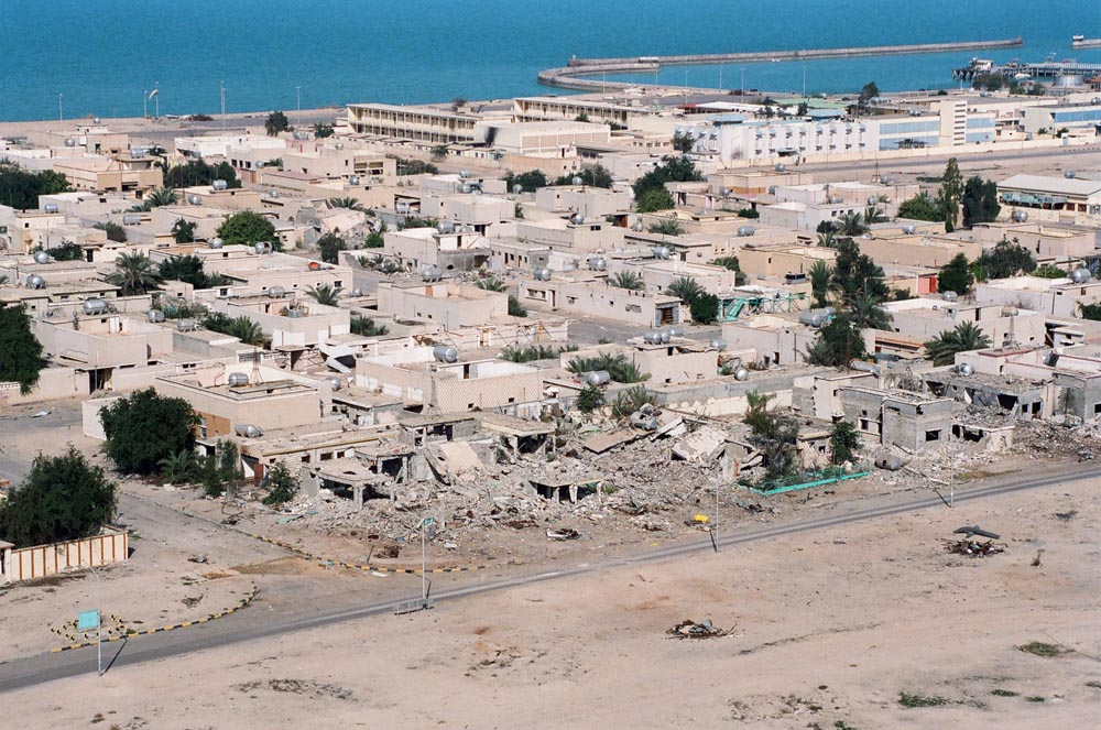 Destruction of Failaka Island  A row of homes destroyed by Iraqi artillery target practice