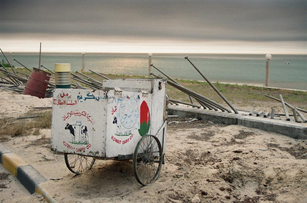 Vandalism on Kuwait City Coast  Iraqi troops vandalized everything around the premises of Kuwait Towers, including fences and this refrigerated ice cream cart from the Kuwait Dairy Company that served refreshments to visitors. (See also .)