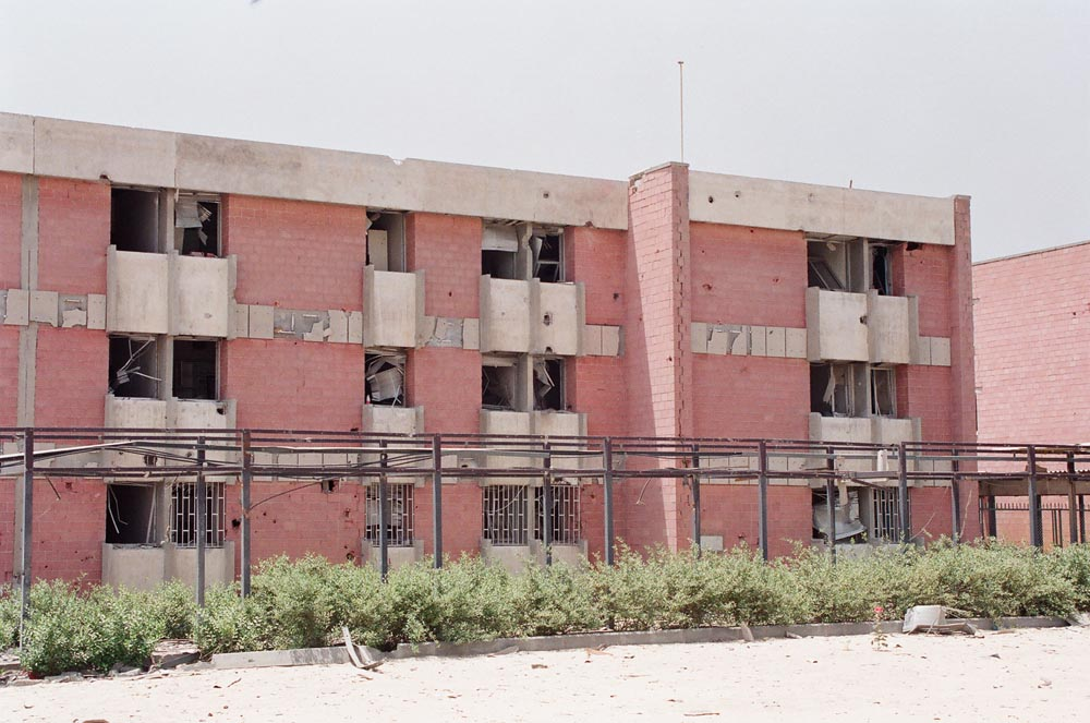 Al-Adan Hospital  Gunfire and artillery shells damaged the exterior.